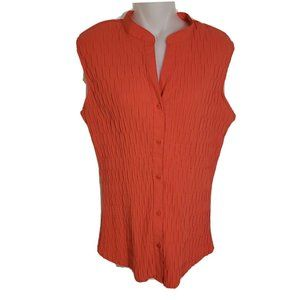 East 5th Top Button Front Sleeveless Crinkle